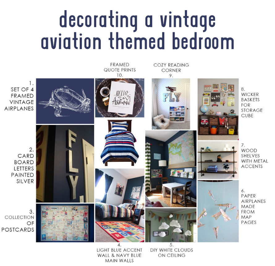 Decorating a vintage aviation-themed bedroom for a young child or teenager. Lots of custom touches and DIY projects (or can buy ready-made). w/ Links.